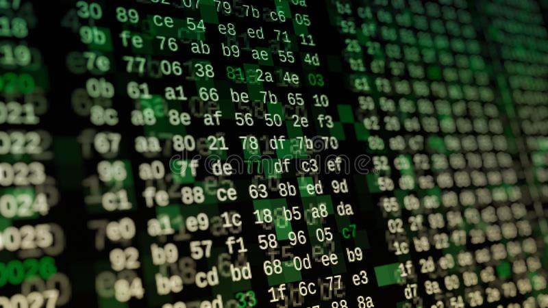 Hexadecimal code, hacking concept. Close up view of a computer screen with hexadecimal code, concept of hacking, internet, big data, software developing 3d royalty free illustration