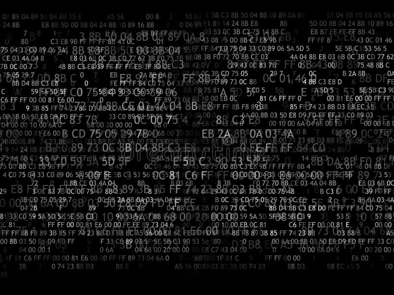 Hexadecimal code running up a computer screen on black background. white digits. vector illustration