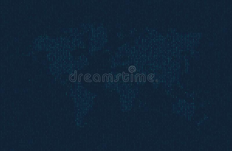 Hexadecimal computer code in the form of a silhouette of the world map. Blue symbols on dark background. royalty free illustration