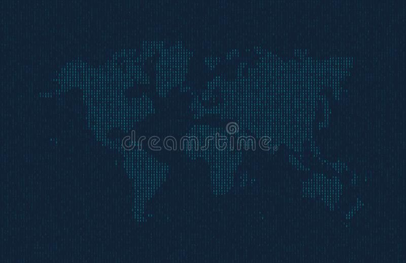 Hexadecimal computer code in the form of a silhouette of the world map. Blue symbols on dark background. vector illustration