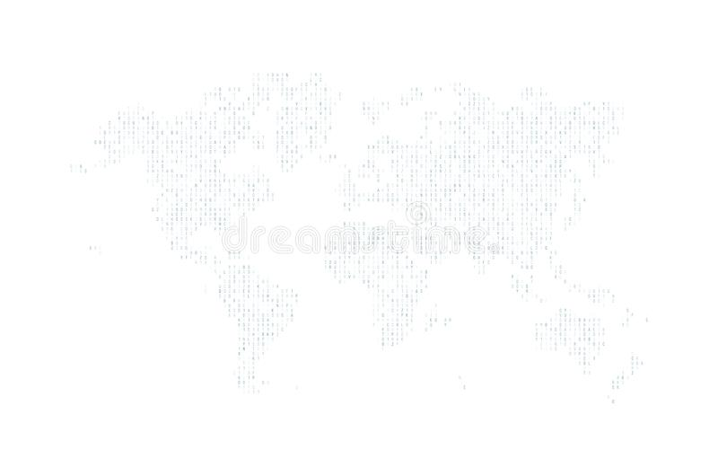 Hexadecimal computer code in the form of a silhouette of the world map. Navi symbols. Abstract background. stock illustration