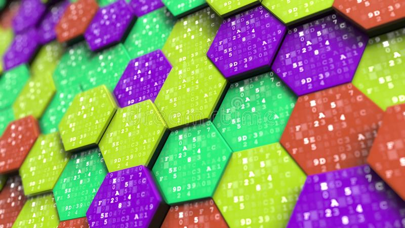 Hexadecimal symbols on abstract hexagons. Programming, mathematics or digital technology related 3D rendering royalty free stock images