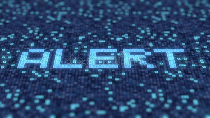 Hexadecimal symbols on a blue computer screen compose ALERT word. 3D rendering. Hexadecimal symbols flashing on a blue computer screen royalty free illustration
