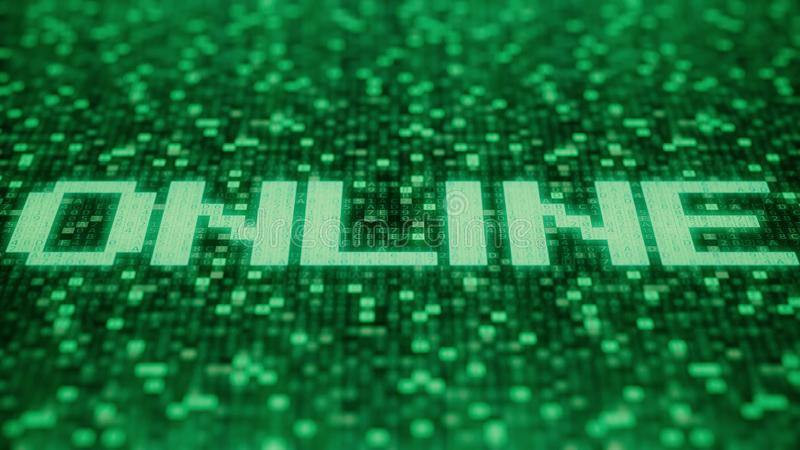 Flashing hexadecimal symbols on a green computer screen compose ONLINE word. 3D rendering. Hexadecimal symbols flashing on a green computer screen royalty free illustration