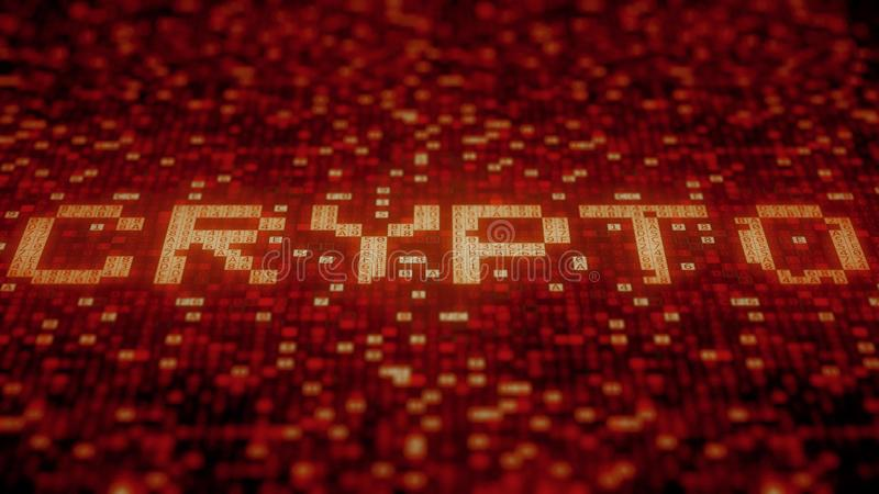 Hexadecimal symbols on a red display compose CRYPTO word. 3D rendering. Hexadecimal symbols flashing on a red computer screen stock illustration