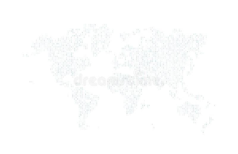 Hexadecimaldatorkod i form av en kontur av världskartan Navi symboler abstrakt bakgrund stock illustrationer