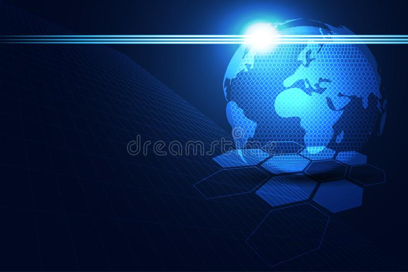 Hexag blu scuro futuro astratto di tecnologia del mondo di concetto di tecnologia ciao illustrazione di stock