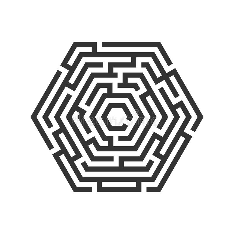 Hexagon λαβύρινθος, εικονίδιο λαβύρινθων χρυσή ιδιοκτησία βασικών πλήκτρων επιχειρησιακής έννοιας που φθάνει στον ουρανό ελεύθερη απεικόνιση δικαιώματος