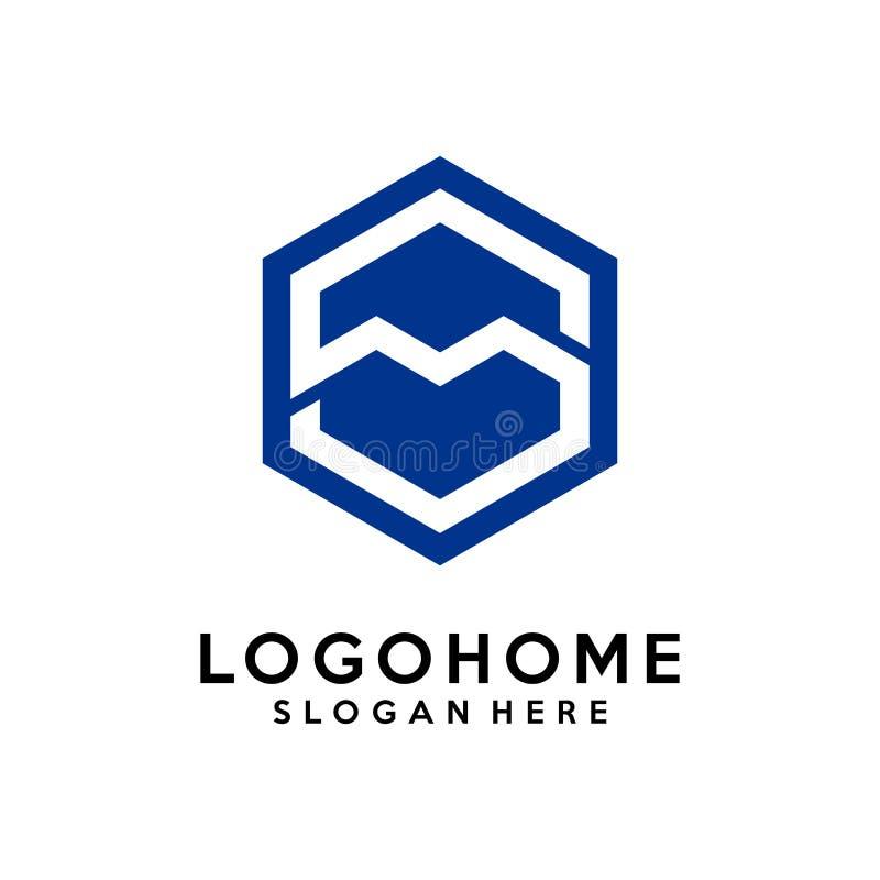 Hexagon διανυσματικό πρότυπο σχεδίου λογότυπων αρχιτεκτονικής γραμμάτων S, εικονίδιο, σύμβολο ελεύθερη απεικόνιση δικαιώματος