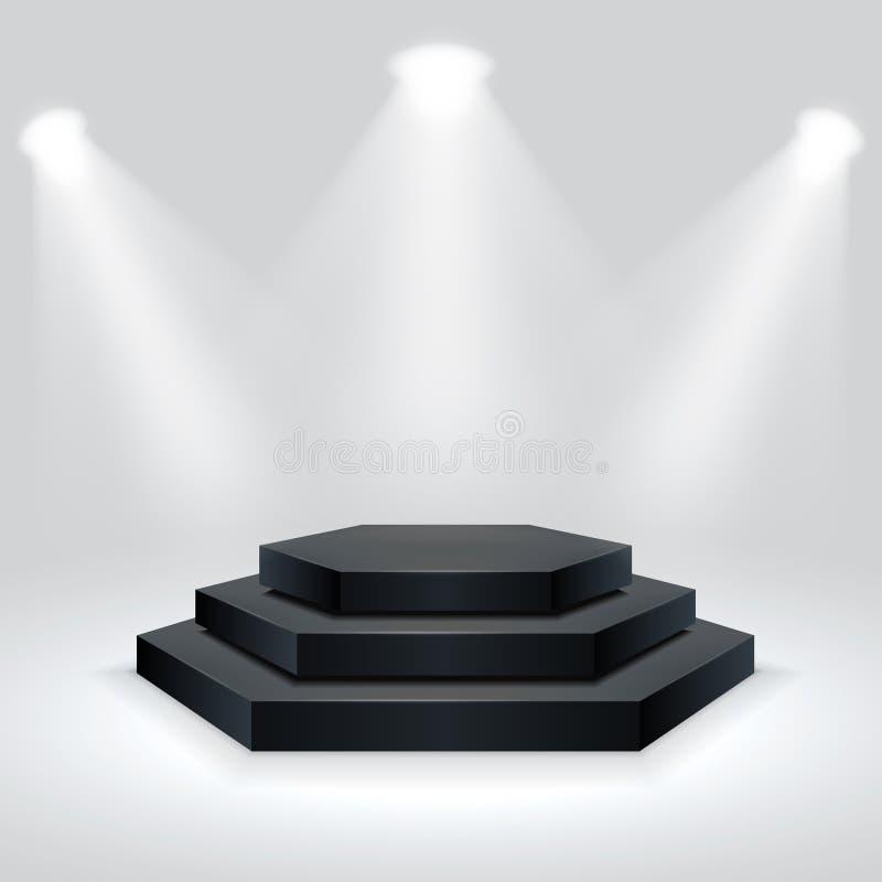 Hexagon εξέδρα που φωτίζεται από τα επίκεντρα Κενό βάθρο τελετής επίσης corel σύρετε το διάνυσμα απεικόνισης απεικόνιση αποθεμάτων