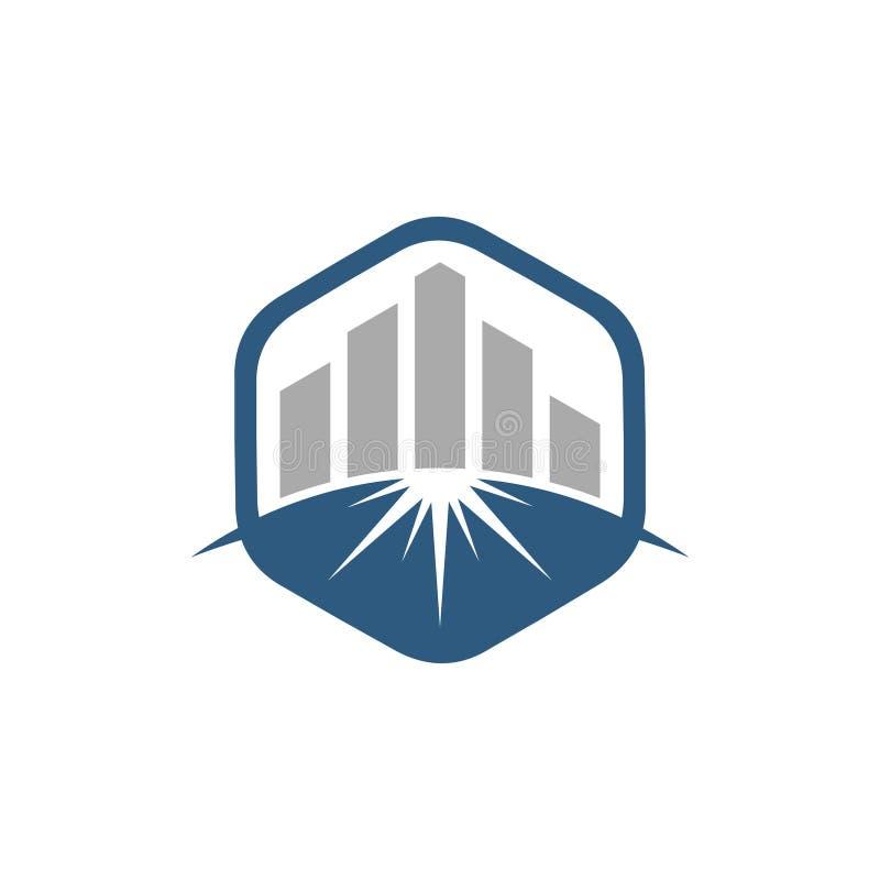 Hexagon επιχείρηση οικονομική με την οικοδόμηση του συμβόλου λογότυπων γραφικών παραστάσεων απεικόνιση αποθεμάτων