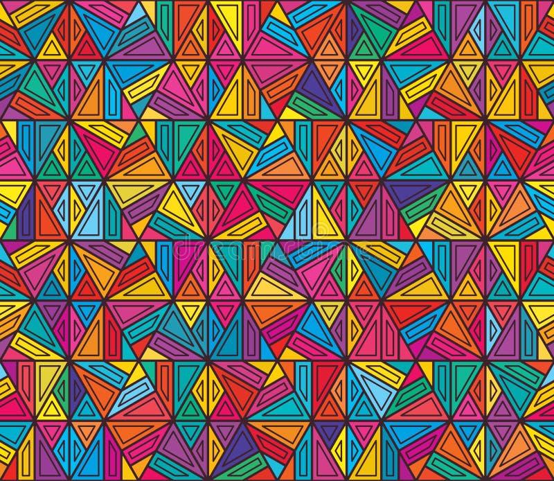 Hexagon ζωηρόχρωμο τετράγωνο ύφους γραμμών κανένα τετραγωνικό άνευ ραφής σχέδιο ελεύθερη απεικόνιση δικαιώματος
