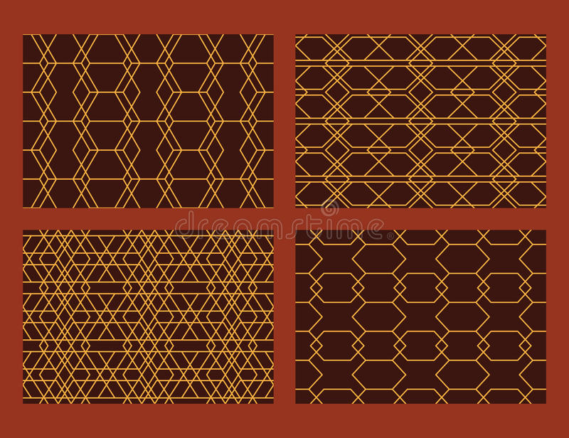 Hexagon καθορισμένο άνευ ραφής σχέδιο γραμμών ύφους απεικόνιση αποθεμάτων