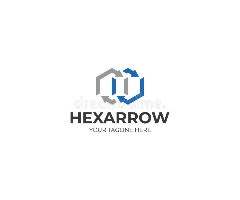 Hexagon και πρότυπο λογότυπων βελών Διανυσματικό σχέδιο απείρου απεικόνιση αποθεμάτων