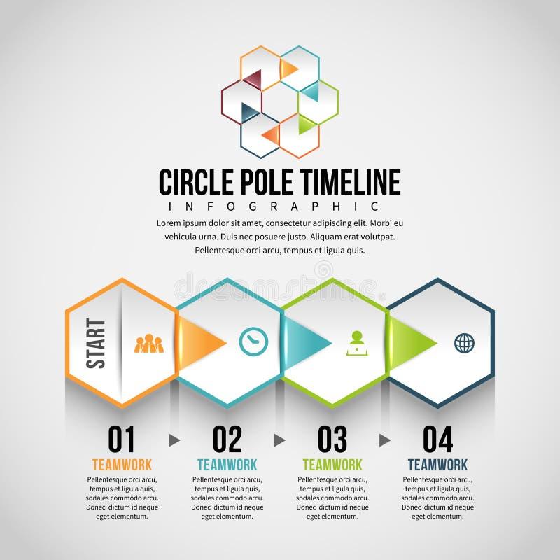Hexagon οριζόντια φλούδα Infographic ελεύθερη απεικόνιση δικαιώματος