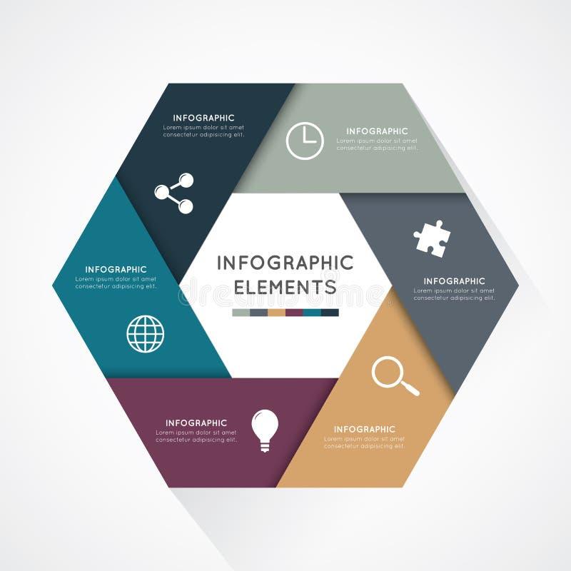 Hexagon στοιχείων Infographic ελεύθερη απεικόνιση δικαιώματος