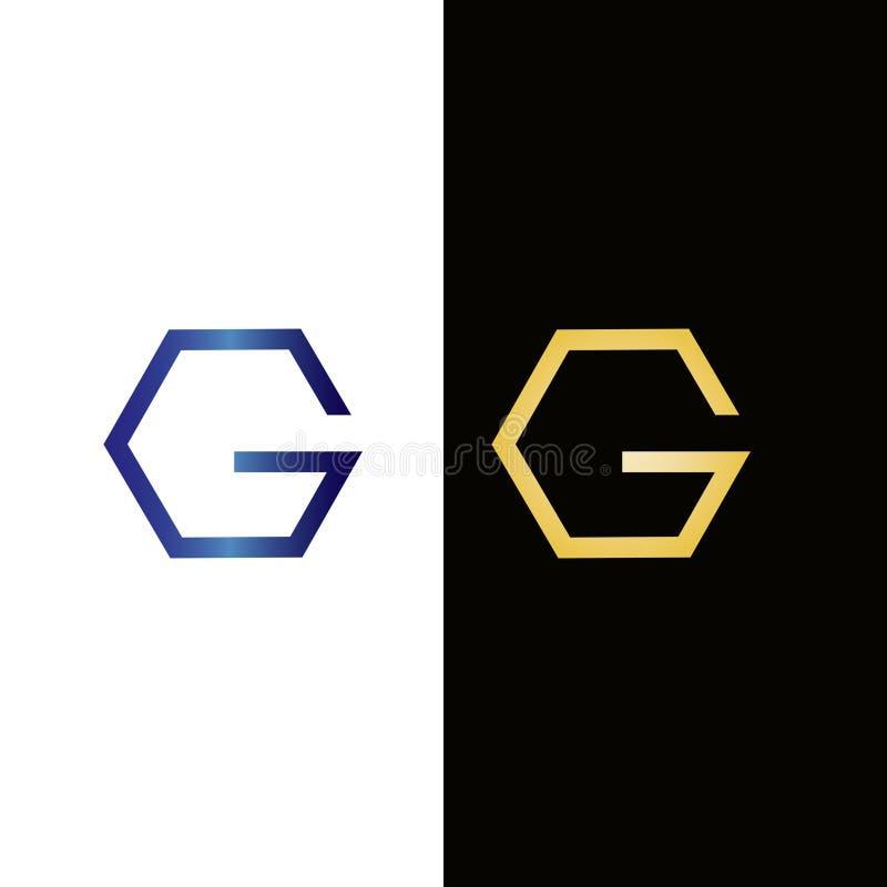 Hexagon σχέδιο λογότυπων γραμμάτων Γ Λογότυπο ή εικονίδιο ακίνητων περιο διανυσματική απεικόνιση