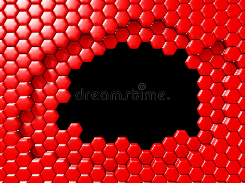Hexagon Abstract Chaotic Red Bricks Wall Background stock photos