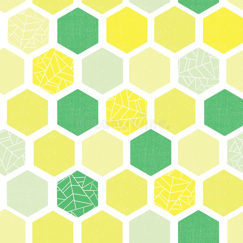 Hexagon background seamless vector pattern. Green lime yellow white Geometric abstract art with grunge texture. Modern vector illustration