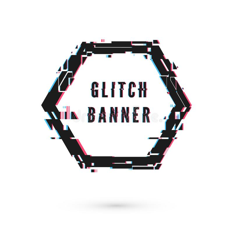 Hexagon banner with distortion effect - Glitch. Digital technology modern poster and flyer template. Vector illustration isolated. On white background stock illustration