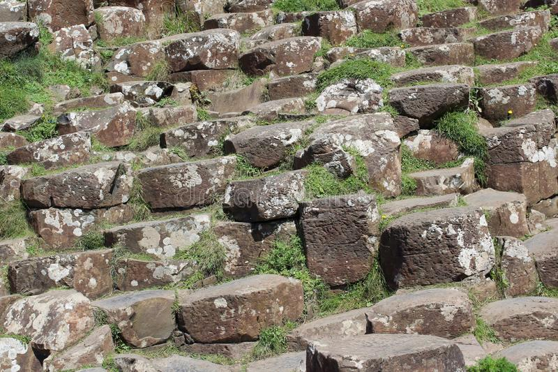 Hexagon basalt columns at the Giant`s Causeway, Northern Ireland royalty free stock photography