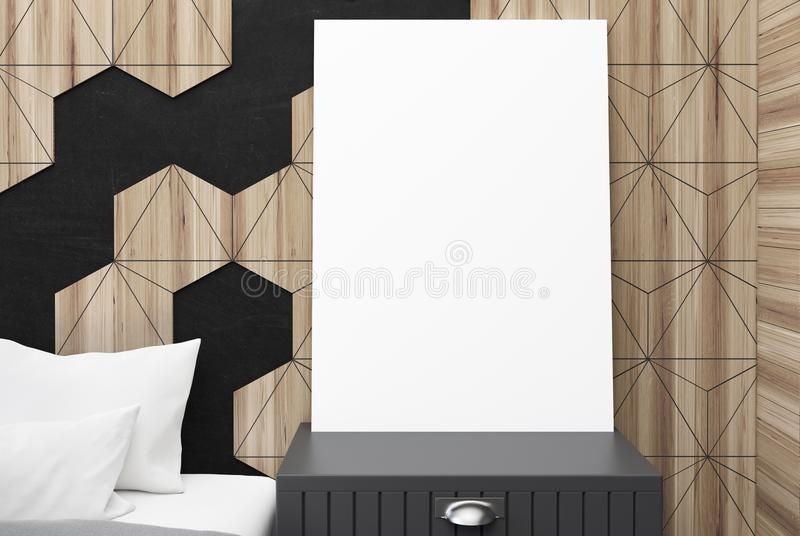 Hexagon bedroom interior, poster close up. Close up of a vertical poster standing on a bedside table in a black and wooden bedroom. A bed with white pillows. 3d vector illustration