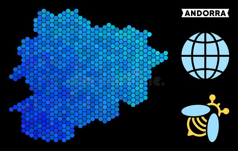 Blue Hexagon Andorra Map. Hexagon Blue Andorra map. Geographic map in blue color tones on a black background. Vector pattern of Andorra map done of honey comb vector illustration