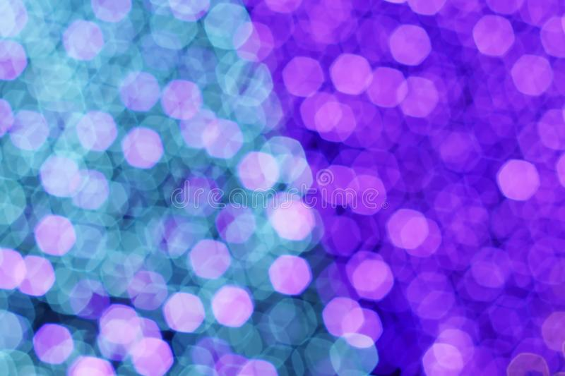 Hexagon bokeh light color Blue-violet background. royalty free stock photography