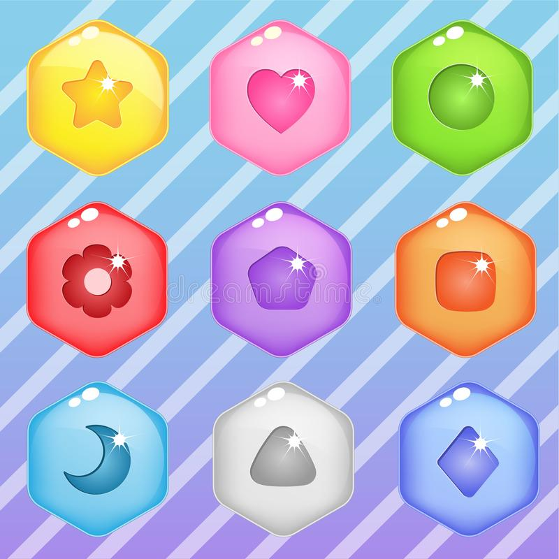 Hexagon candy block puzzle button glossy jelly. 2d asset for user interface GUI in mobile application or casual video game. Vector for web or game design stock illustration