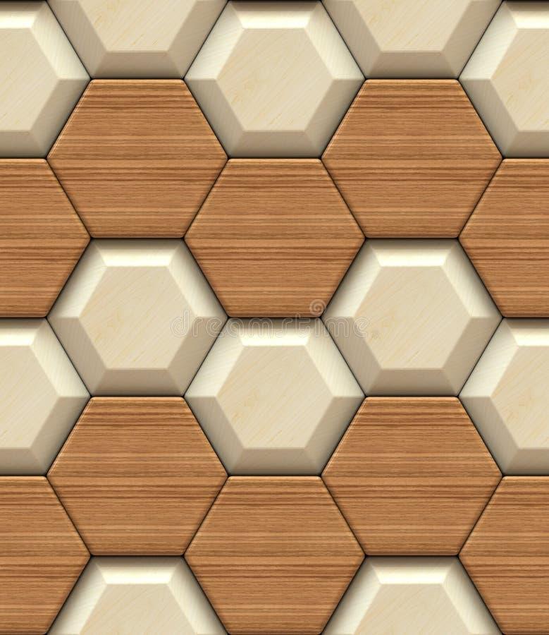 Hexagon 3d panelen van het muur de houten ontwerp Hoog - naadloze kwaliteit royalty-vrije illustratie