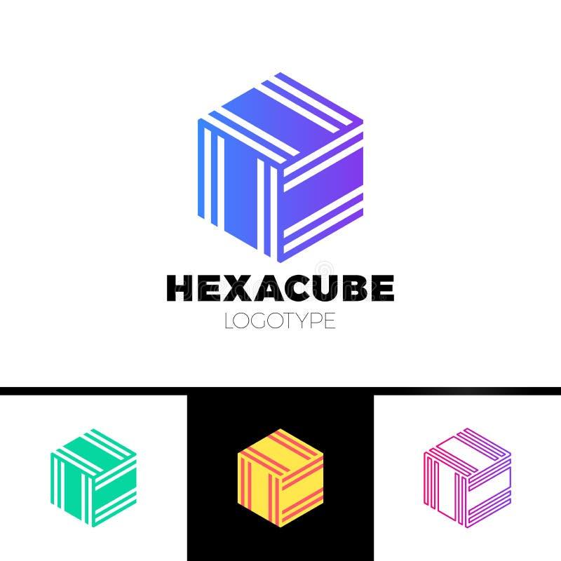 Hexagon de groepsembleem van de kubus 3d sector, de pijl van de pakketdoos logotype stock illustratie