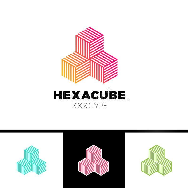Hexagon de groepsembleem van de kubus 3d sector, de pijl van de pakketdoos logotype royalty-vrije illustratie