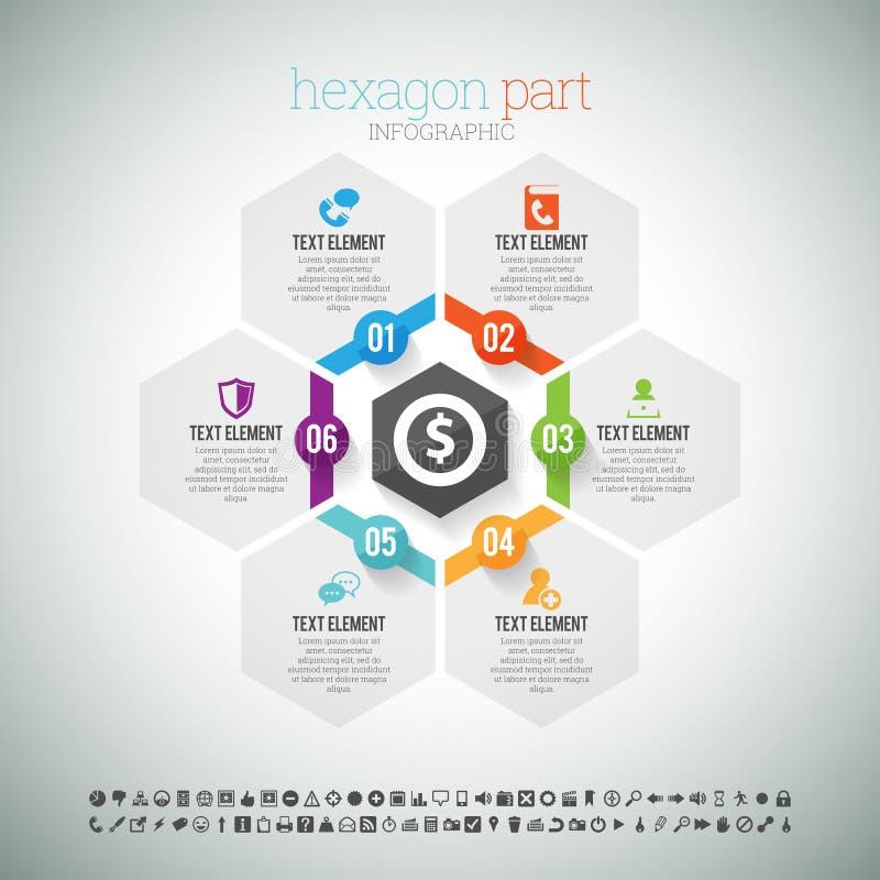 Hexagon Deel Infographic stock illustratie