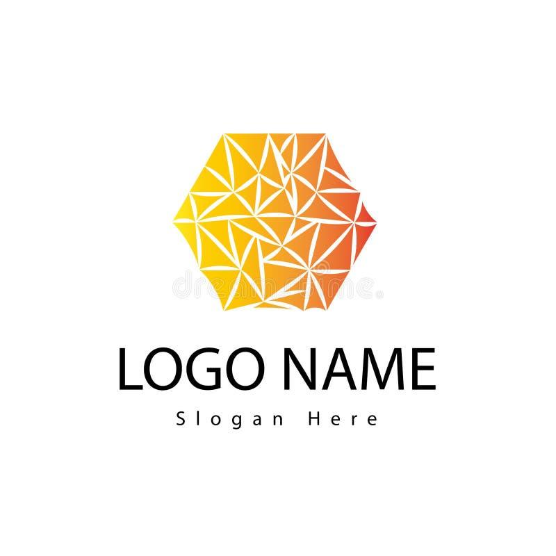 Hexagon embleem met warme kleur stock fotografie