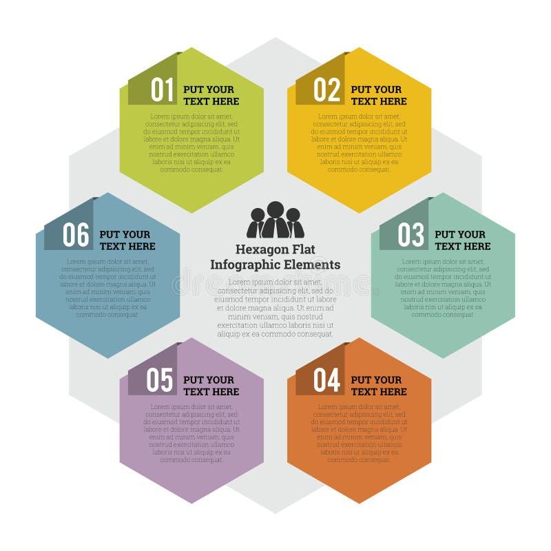 Hexagon Flat Infographic Element stock illustration