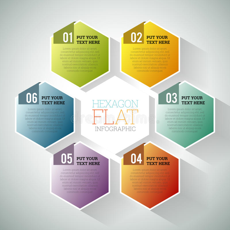 Hexagon Flat Infographic. Vector illustration of hexagon hex flat infographic element royalty free illustration