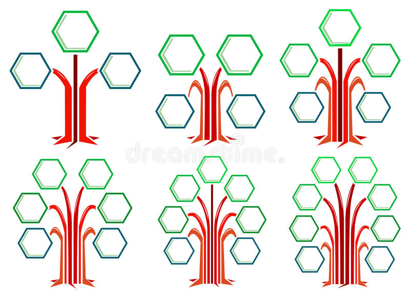 Hexagon frames tree designs