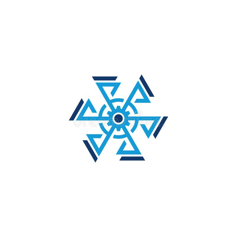 Hexagon gear arrow business logo royalty free illustration