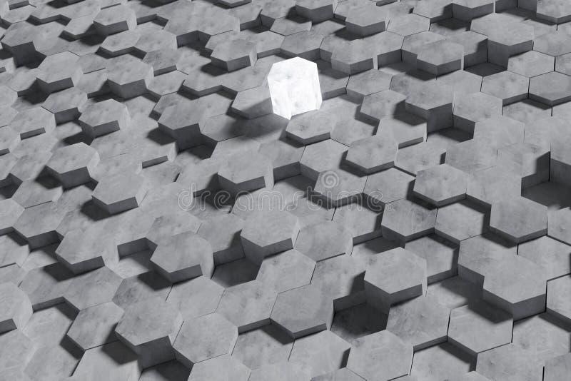 Hexagon-geformter Betonblock-Wand-Hintergrund Grafik für Vergleich des Sieges oder Vergleich des Wettbewerbs Gesch?ft vektor abbildung