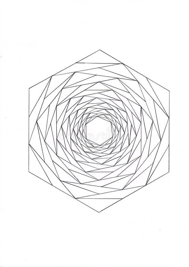 Hexagon gemacht von den kleineren Hexagonen stockfotos