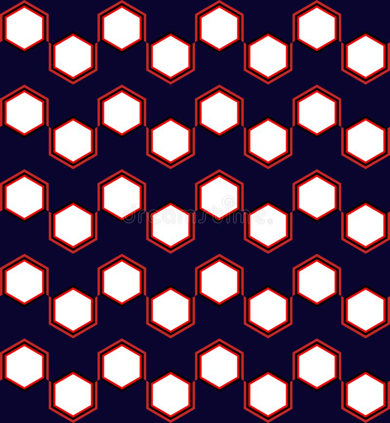 Hexagon Geometric Seamless Pattern in Red and Blue vector illustration