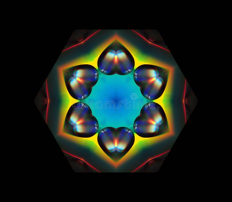 Hexagon geometrische vormregenboog gekleurde harten op de zwarte achtergrond royalty-vrije illustratie