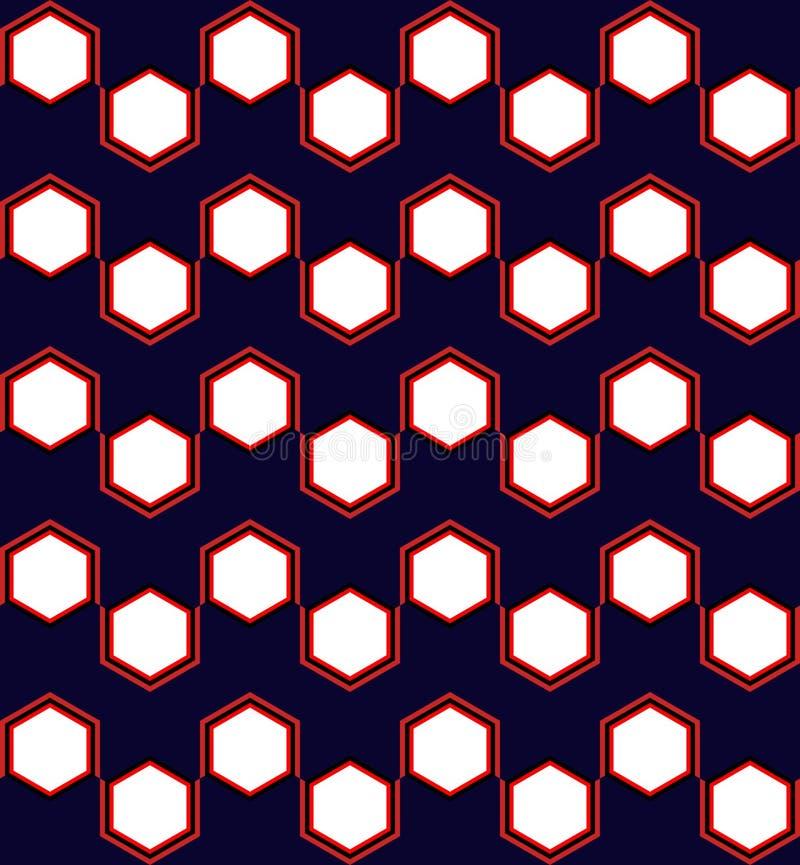 Hexagon-geometrisches nahtloses Muster in Rotem und in Blauem vektor abbildung
