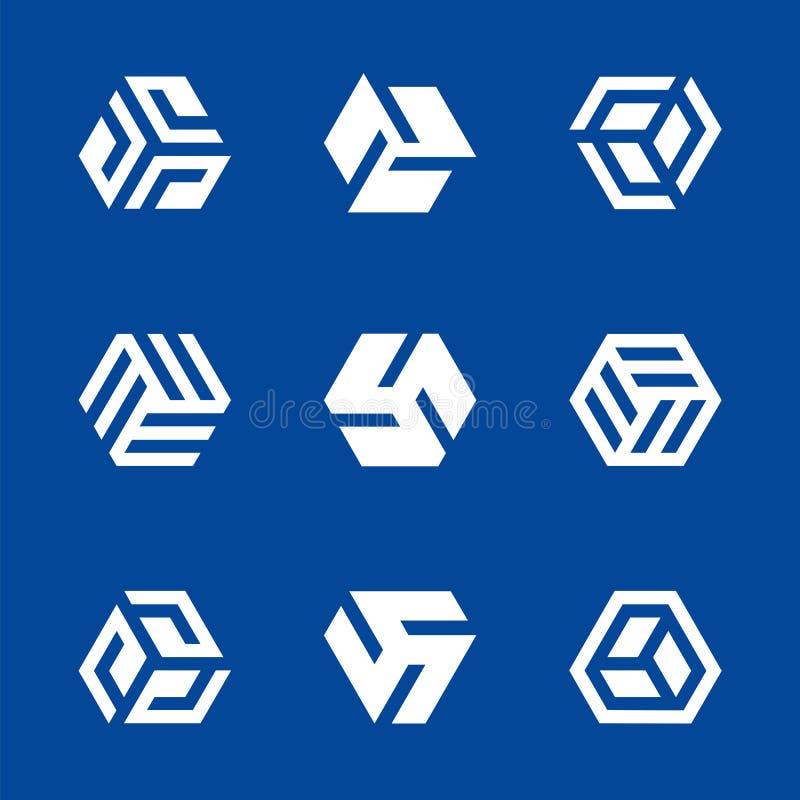 Hexagon gestalte gegeven elementen van het embleemontwerp Vector illustratie royalty-vrije illustratie