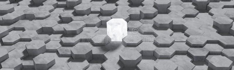 Hexagon Gevormde Beton blokkeert Muurachtergrond Kunstwerk voor vergelijking van overwinning of vergelijking van de concurrentie  vector illustratie