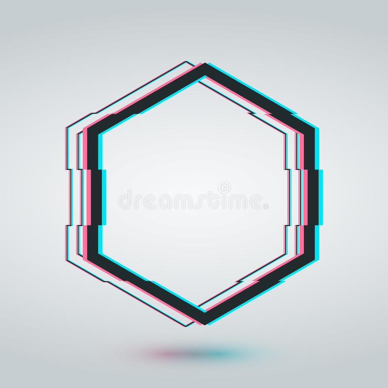 Hexagon glitch frame cadre template. TV screen technology style border. Distortion glitch effect frame design. Futuristic geometric hexagon border for text stock illustration