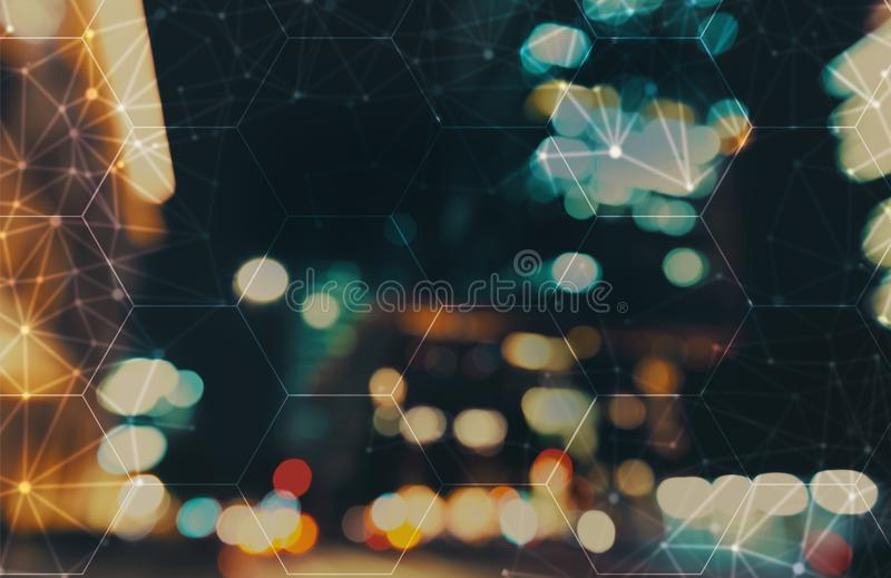 Hexagon grid with blurred city lights. Hexagon grid with blurred city abstract lights background vector illustration