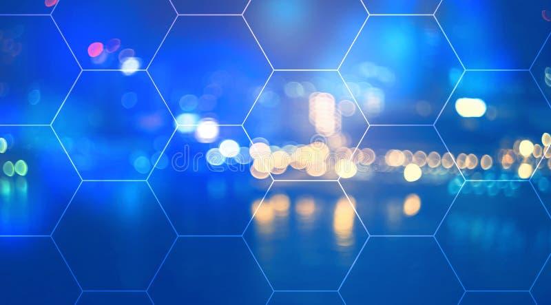 Hexagon Grid with city lights at night. Hexagon Grid with blurred city lights at night royalty free illustration