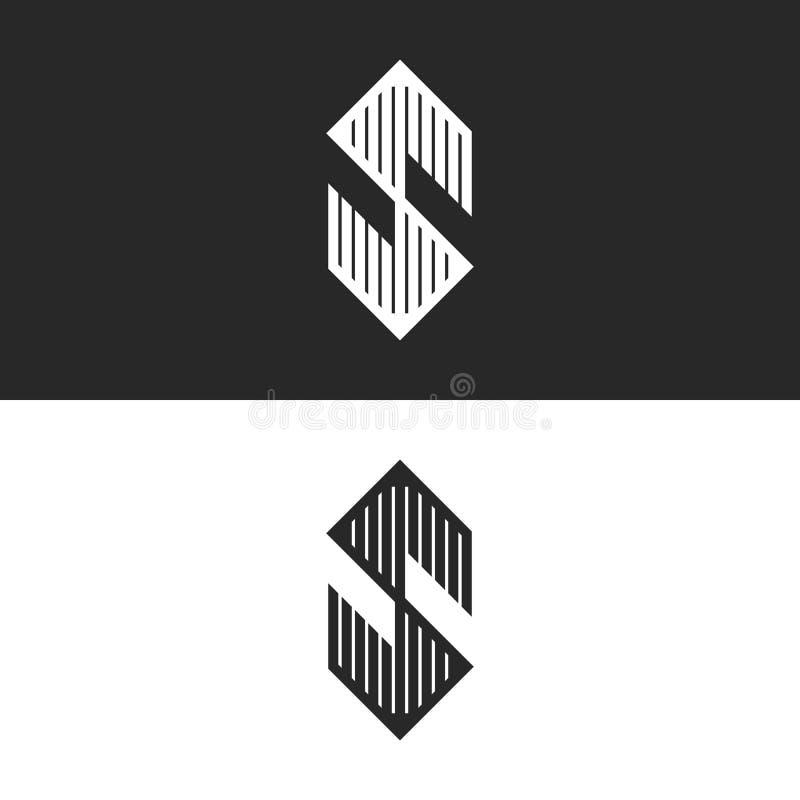 Hexagon het embleem lineair hoekig symbool van de vormbrief S, het moderne gestreepte embleem van de monogramidentiteit of vector royalty-vrije illustratie