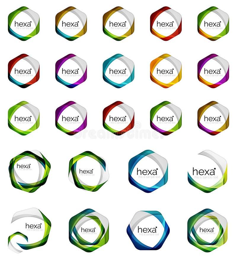 Hexagon icons, vector minimalistic geometric design elements, business symbols vector illustration